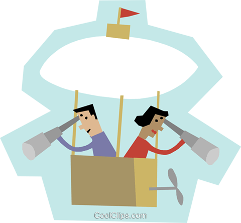 man and woman in a hot air balloon Royalty Free Vector Clip Art illustration busi2305