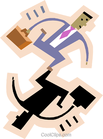 symbol of man with briefcase Royalty Free Vector Clip Art illustration busi2306