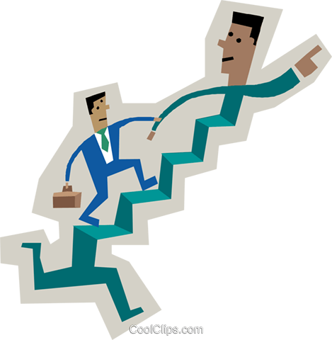 symbol of men running up stairs Royalty Free Vector Clip Art illustration busi2307