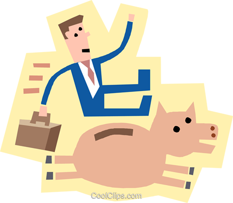 symbol of man with money bank pig Royalty Free Vector Clip Art illustration busi2308