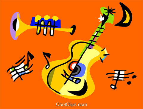 Trumpet and guitar Royalty Free Vector Clip Art illustration ente0200