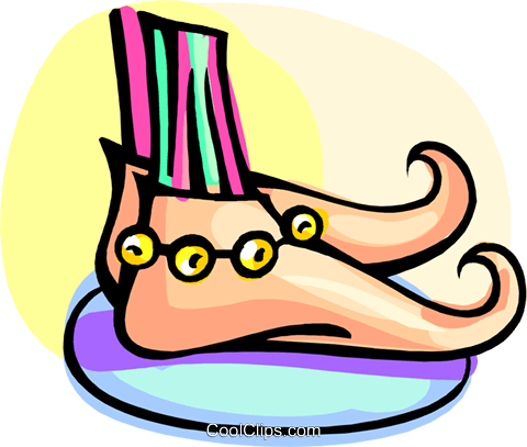 funny looking shoes Royalty Free Vector Clip Art illustration ente0204