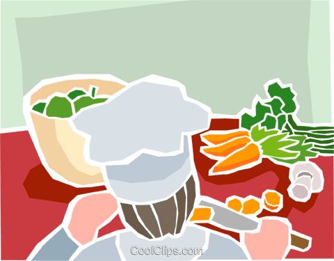 chef preparing vegetables Royalty Free Vector Clip Art illustration food1232