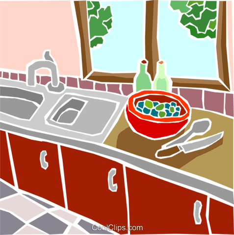 kitchen scene Royalty Free Vector Clip Art illustration hous1475