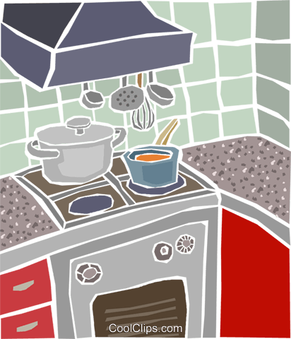 kitchen stove Royalty Free Vector Clip Art illustration hous1476