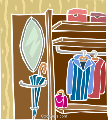 clothes closet Royalty Free Vector Clip Art illustration hous1482
