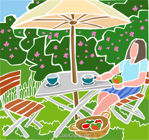 table with umbrella, summer scene Royalty Free Vector Clip Art illustration hous1488