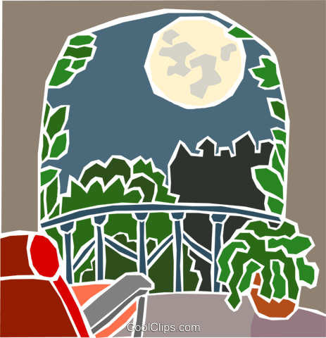 moonlight on a balcony Royalty Free Vector Clip Art illustration hous1500