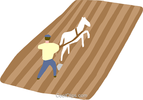 Man plowing in a field Royalty Free Vector Clip Art illustration indu1037