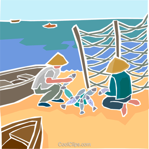 fishermen with the day's catch Royalty Free Vector Clip Art illustration indu1043