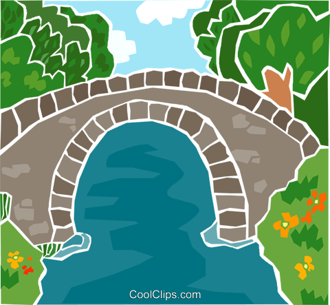 walking bridge over water Royalty Free Vector Clip Art illustration natu1005