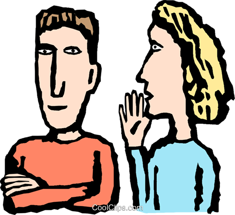 Woman whispering to a co-worker Royalty Free Vector Clip Art illustration peop4135