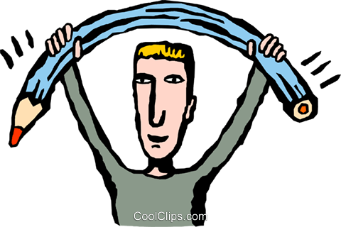 man bending a pencil Royalty Free Vector Clip Art illustration peop4136