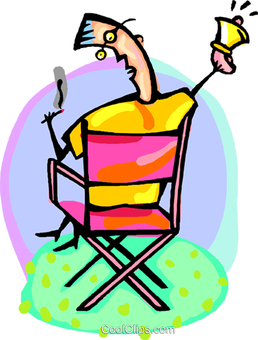 entertainment director in his chair Royalty Free Vector Clip Art illustration peop4151