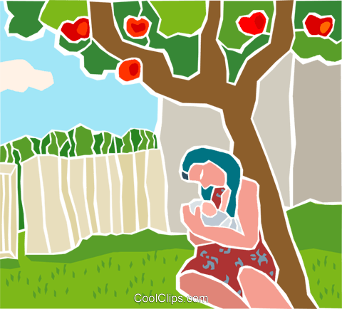 woman with child sitting under a tree Royalty Free Vector Clip Art illustration peop4162