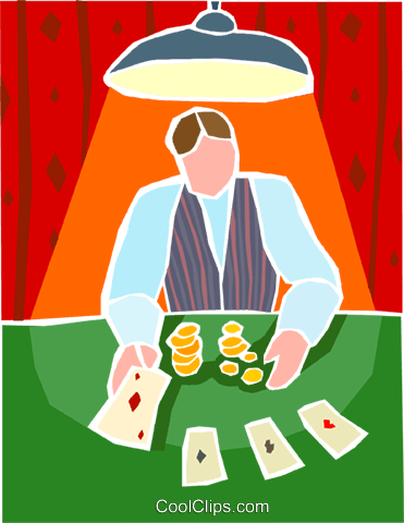 man dealing cards Royalty Free Vector Clip Art illustration spor0504