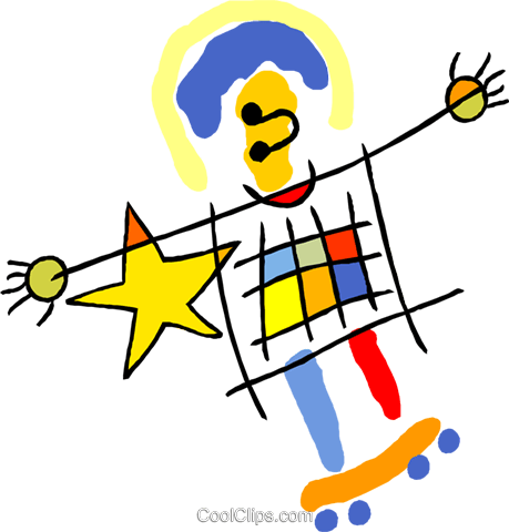 child's drawing of a man on a skateboard Royalty Free Vector Clip Art illustration symb0175