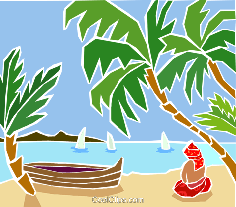 Beach scene with palm trees Royalty Free Vector Clip Art illustration trav0188