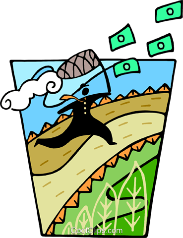 chasing dollars with a butterfly net Royalty Free Vector Clip Art illustration busi2325