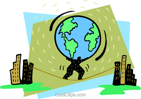 weight of the world on his shoulders Royalty Free Vector Clip Art illustration busi2332