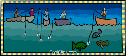 using the right bait Royalty Free Vector Clip Art illustration busi2334