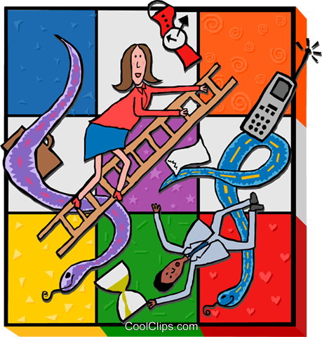 snakes and ladders, business pitfalls Royalty Free Vector Clip Art illustration busi2335