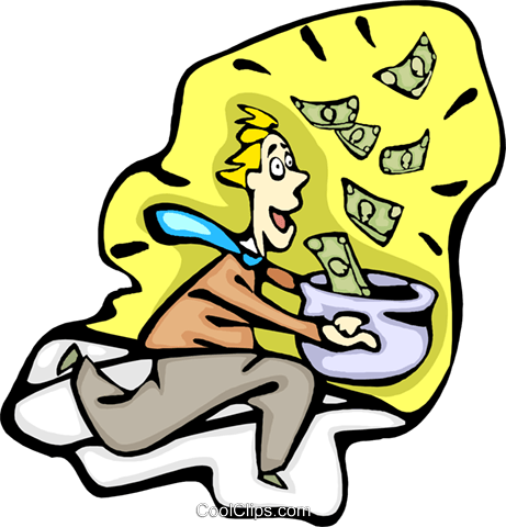 man running with money Royalty Free Vector Clip Art illustration busi2340