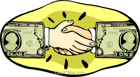 hands shaking with dollar sign hands Royalty Free Vector Clip Art illustration busi2343