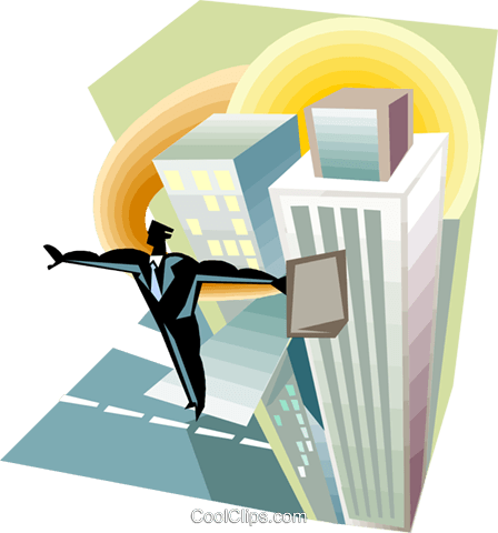 Businessman balancing on top of buildings Royalty Free Vector Clip Art illustration busi2350