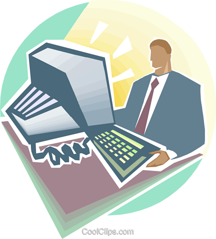 Man in front of computer Royalty Free Vector Clip Art illustration busi2352