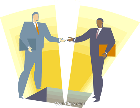 Two men shaking hands Royalty Free Vector Clip Art illustration busi2353