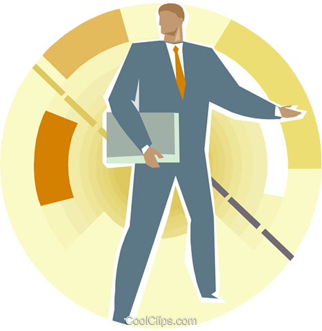 Man with papers Royalty Free Vector Clip Art illustration busi2356