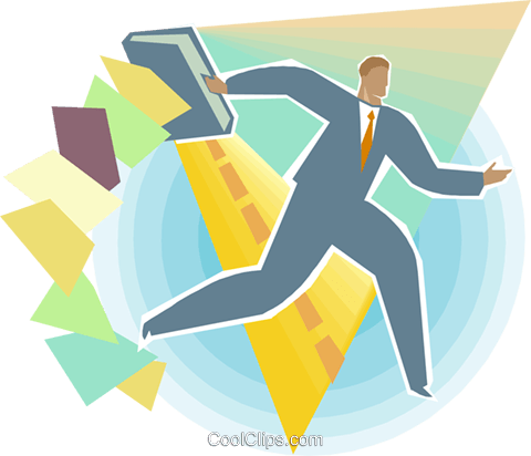 Man holding open briefcase Royalty Free Vector Clip Art illustration busi2358