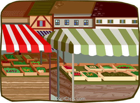 outdoor market stands Royalty Free Vector Clip Art illustration busi2360