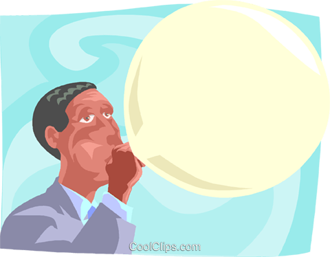 blowing a large bubble Royalty Free Vector Clip Art illustration busi2370
