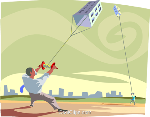 businessman with kite of a building Royalty Free Vector Clip Art illustration busi2374