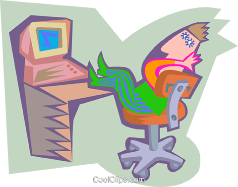 Man relaxing at computer Royalty Free Vector Clip Art illustration busi2380