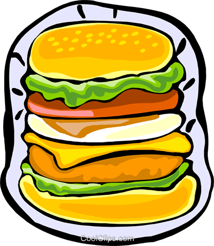 extra large hamburger Royalty Free Vector Clip Art illustration food1237