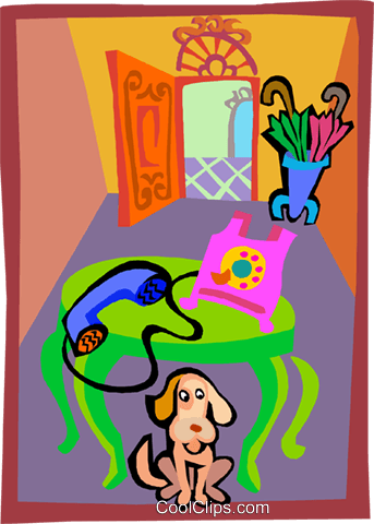 Dog in front hallway of a house Royalty Free Vector Clip Art illustration hous1504