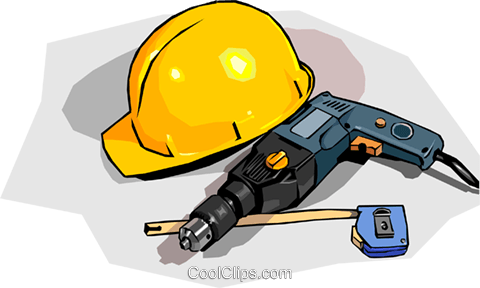 hard hat with drill and tape measure Royalty Free Vector Clip Art illustration indu1048