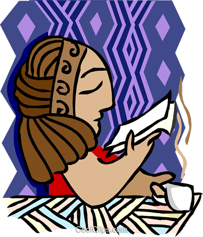 woman reading while drinking coffee Royalty Free Vector Clip Art illustration peop4163