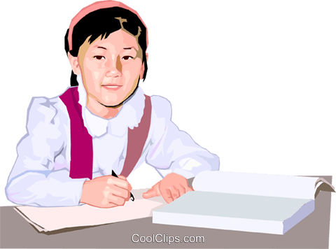 Child working on her homework Royalty Free Vector Clip Art illustration peop4165