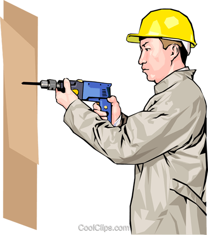construction worker with electric drill Royalty Free Vector Clip Art illustration peop4168