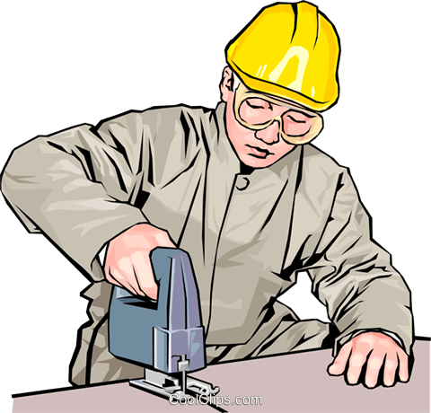 construction worker with electric jigsaw Royalty Free Vector Clip Art illustration peop4169