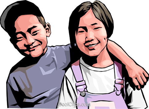 Brother and sister Royalty Free Vector Clip Art illustration peop4171