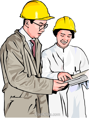 workers in hard hats discussing plans Royalty Free Vector Clip Art illustration peop4172