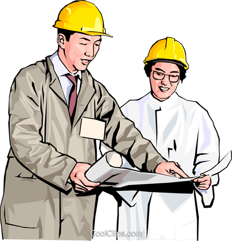workers in hard hats discussing plans Royalty Free Vector Clip Art illustration peop4173