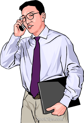 Businessman with a cell phone Royalty Free Vector Clip Art illustration peop4175