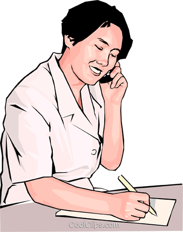 office worker with phone and notepad Royalty Free Vector Clip Art illustration peop4176