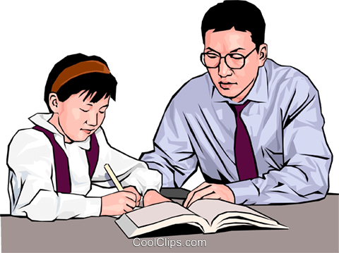 Young girl with her teacher Royalty Free Vector Clip Art illustration peop4177